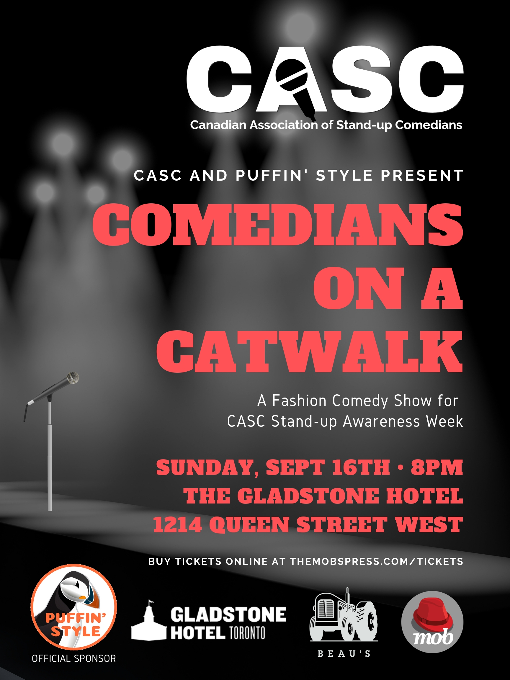 3comedianson a catwalk wearinG couture - CASC - Canadian